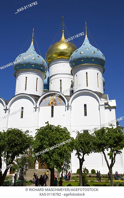 Holy Dormition Cathedral, The Holy Trinity Saint Serguis Lavra, UNESCO World Heritage Site, Sergiev Posad, Golden Ring, Russia