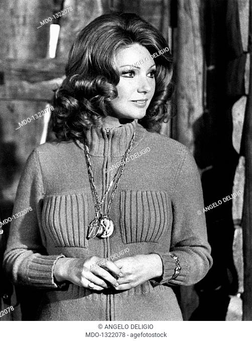 Sylva Koscina in 'Beati i ricchi'. Croatian-born Italian actress Sylva Koscina acting in the film 'Beati i ricchi'. Pallanza, 1972