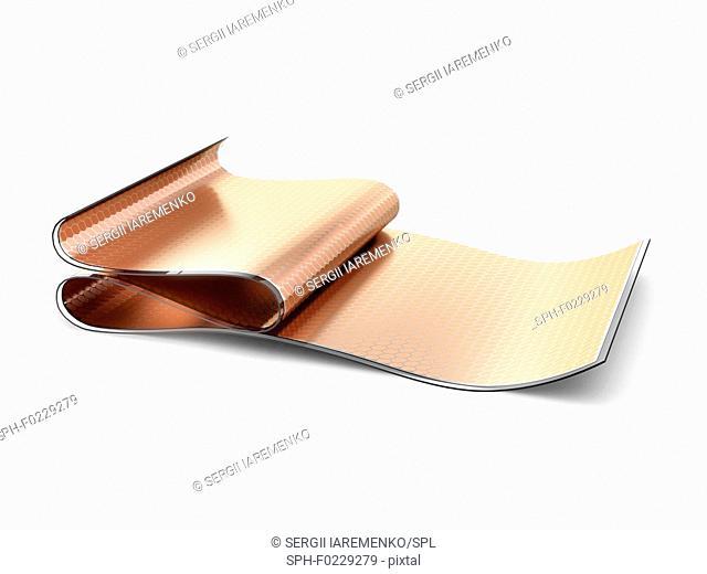 Flexible organic solar cells, illustration