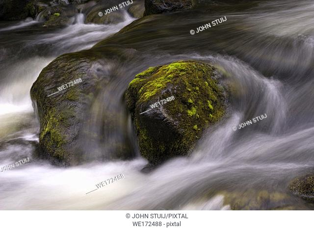 Rock in the Tefafallet waterfall near the Swedish village Ljusnedal