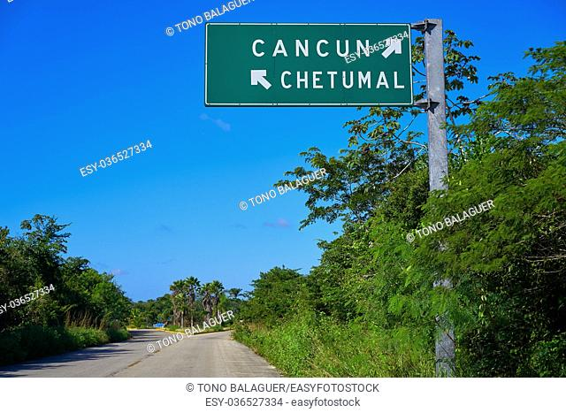 Rad sign Cancun and chetumal in Costa Maya of Mexico