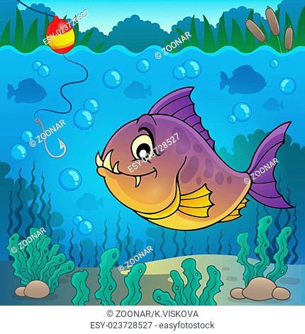Piranha fish underwater theme 3 - picture illustration