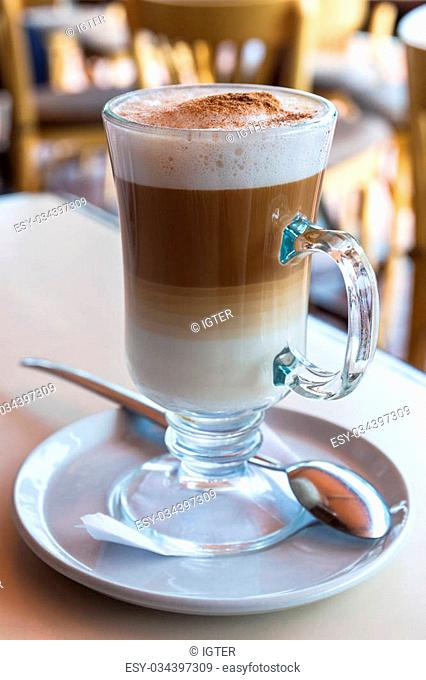 irish coffee cup on a table in cafe