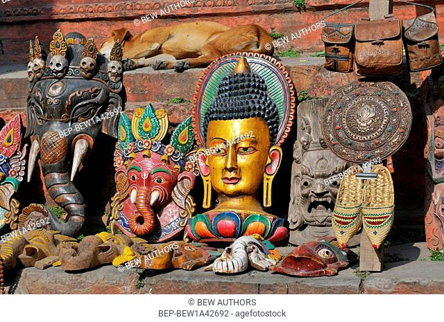 Nepal, Kathmandu, Ganesha Elephant God Head Mask and the others souvenirs on street market