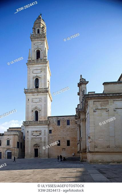 Duomo square, view of the Cathedral, Lecce, Puglia, Italy, Europe