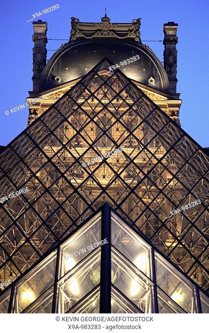 Pyramid by Pei, Louvre Art Museum, Paris, France