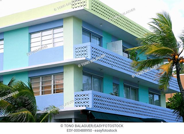 Miami South Beach Art Deco district with colorful buildings and palm trees