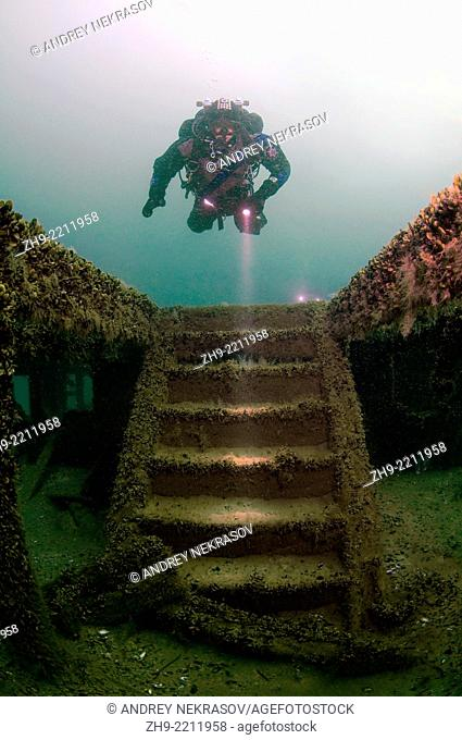 "The stairs leading to the lower deck, Diver at the shipwreck of the Austrian wheel steamship """"Durnstein"""", Odessa, Black Sea, Ukraine, Eastern Europe, Europe"