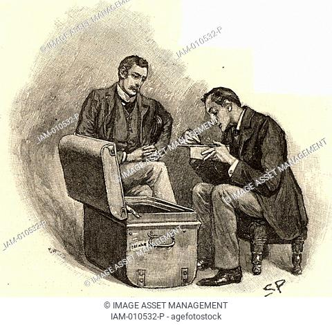 The Adventure of the Musgrave Ritual'  Dr Watson watching Sherlock Holmes going through mementoes of his old cases  From 'The Adventures of Sherlock Holmes' by...