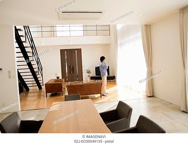 Middle-aged man talking on a phone by a window in the living room