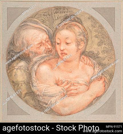 The Illmatched Couple. Artist: Jacob Matham (Netherlandish, Haarlem 1571-1631 Haarlem); Date: 1602; Medium: Black and red chalk, brush and green wash