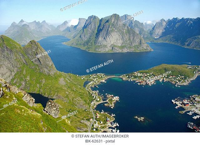 View from Reinebringen on Reine and Reinefjorden with rough mountains Moskenesoya Lofoten Norway