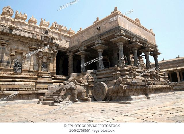 Decorated niches and steps leading to Agra-mandapa known as Raja-gambhiran, Airavatesvara Temple, Darasuram, Tamil Nadu, India. View from South