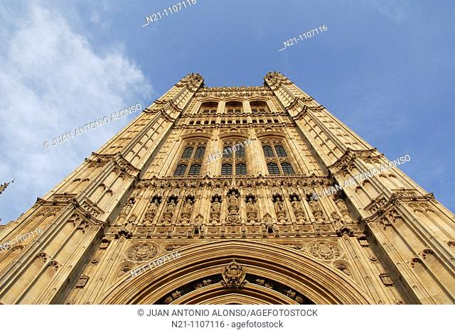 Victoria Tower. Houses of Parliament. Westminster Hall. Westminster, London, England, Great Britain, Europe