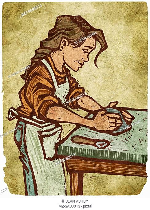 A woman working with clay