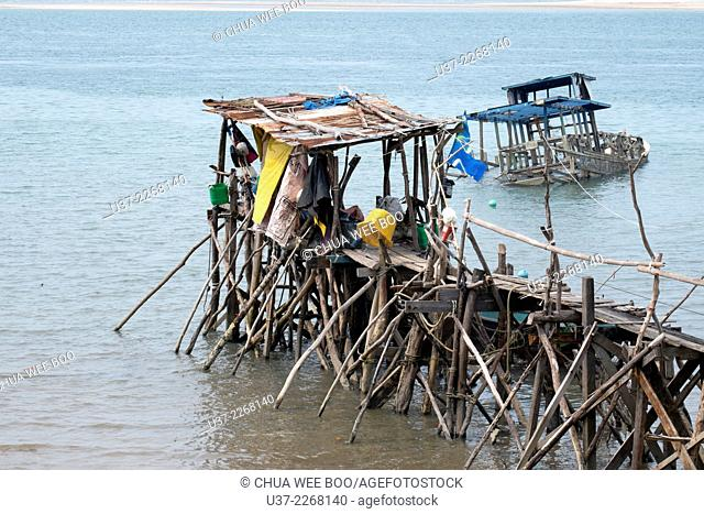 Wooden jetty at Sematan, Sarawak, Malaysia