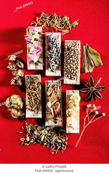 Medicinal herbs, assortment of dried herbs