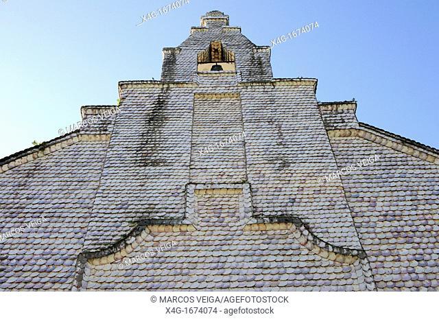Capela de San Caralampio or Capela das Cunchas is a chapel covered in scallop shells  A Toxa, O Grove, Galicia, Spain