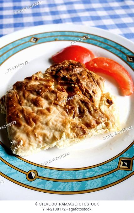 Greek Cuisine. Freshly Cooked Tyropita - Cheese Pie