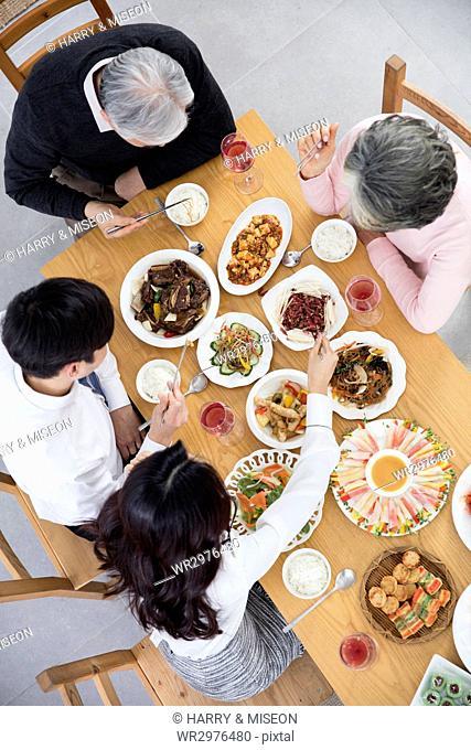 High angle view of harmonious family