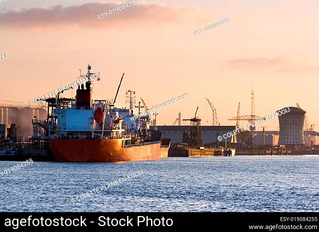 Ships on the river at colorful sunrise in october