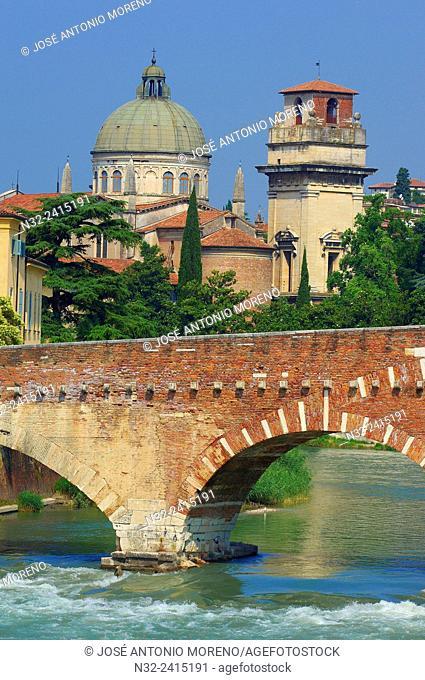 Verona, The Stone bridge, Ponte di petra, Sant Giorgio in Braida church, Veneto, Italy