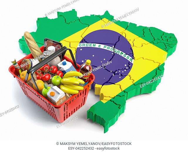Market basket or consumer price index in Brazil. Shopping basket with foods on the map of Brazil. 3d illustration