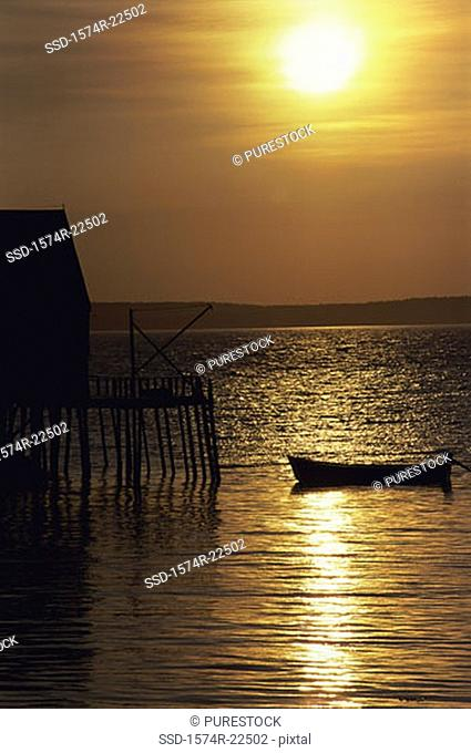 Silhouette of a boat in the sea during sunset, Clifty Cove, Nova Scotia, Canada