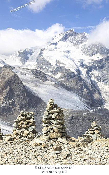 Overview of the Diavolezza and Pers glaciers and Piz Bernina, St. Moritz, canton of Graubünden, Engadine, Switzerland