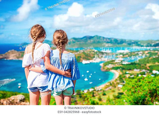 View of English Harbor from Shirley Heights, Antigua, paradise bay at tropical island in the Caribbean
