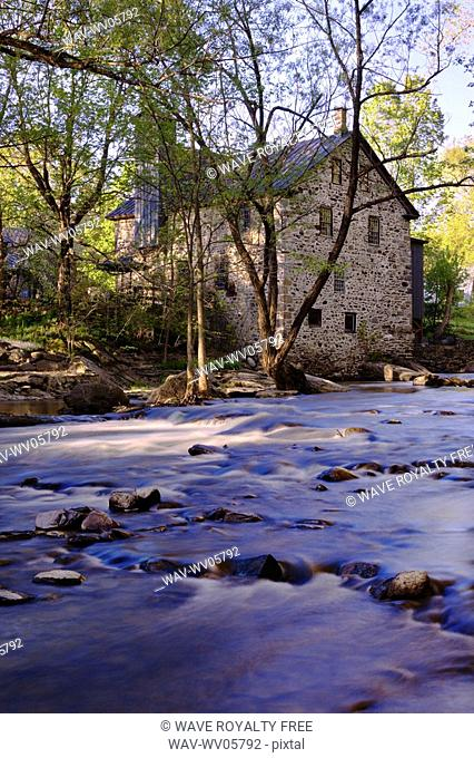 View of old Freligh mill and Brochets river, Eastern Townships, Quebec, Canada
