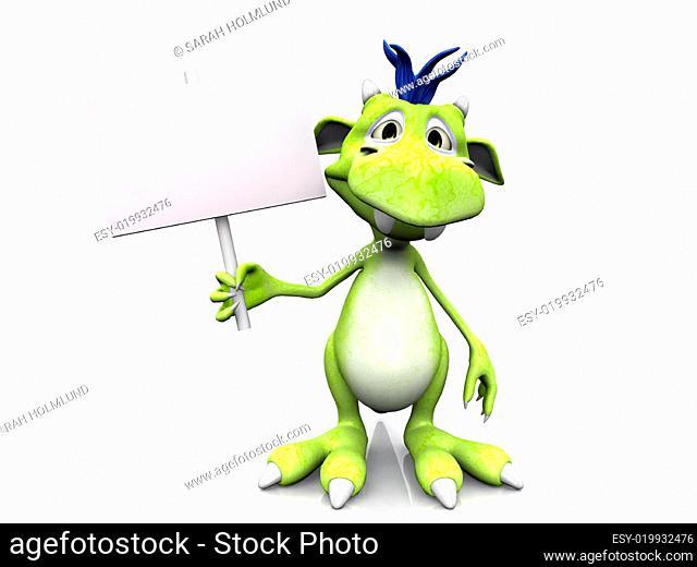 Cute cartoon monster holding blank sign