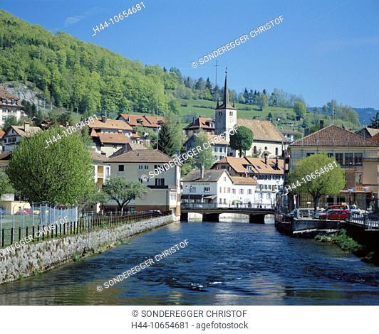 10654681, view, village, river, flow, Orbe, canton Vaud, Switzerland, Europe, Vallorbe, Bern, Vaud jura