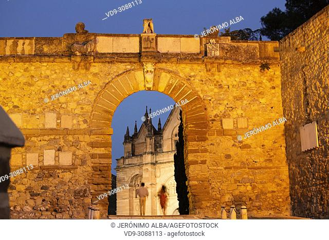 Arco de los gigantes at dusk, monumental city Antequera. Malaga province Andalusia. Southern Spain Europe