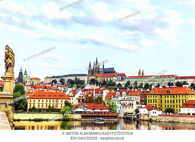 View from the Charles Bridge on the Lesser Town of Prague