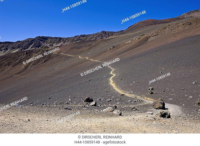 Sand Trail, Crater, Haleakala Volcano, Hawaii, USA