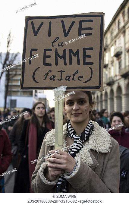 March 8, 2018 - Turin, Piedmont, Italy - Turin, Italy-March 8, 2018: Procession of March 8 for the Women's Day in Turin (Credit Image: © Stefano Guidi via ZUMA...