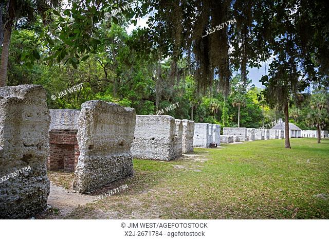 Jacksonville, Florida - The remains of slave quarters at Kingsley Plantation, where slaves grew Sea Island cotton from 1814 to 1865