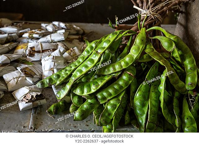 Yogyakarta, Java, Indonesia. Petai, or Pete, Beans, also known as Bitter Bean, Stink Beans, or Twisted Cluster Beans, Beringharjo Market