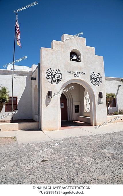 Entrance to mission school, San Xavier Mission, Tucson, Arizona, USA