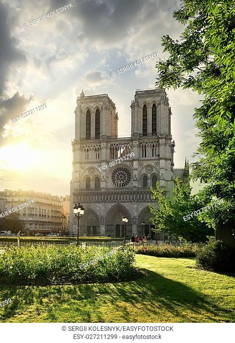 Notre Dame de Paris and green meadow at sunrise, France