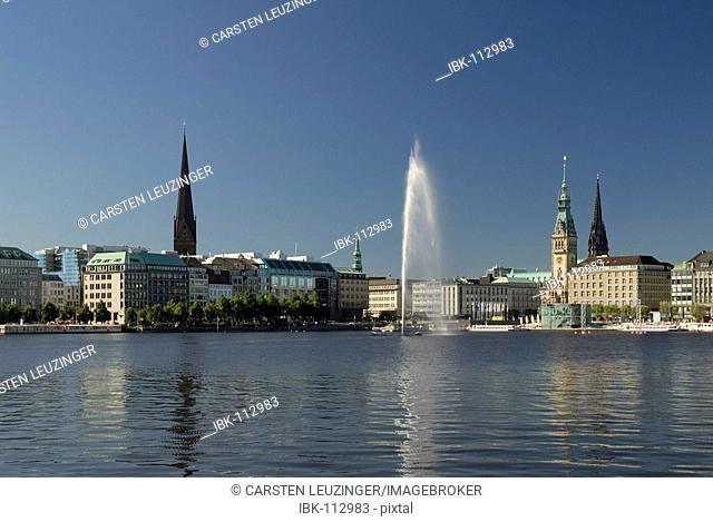 View over lake Alster, Hamburg, Germany