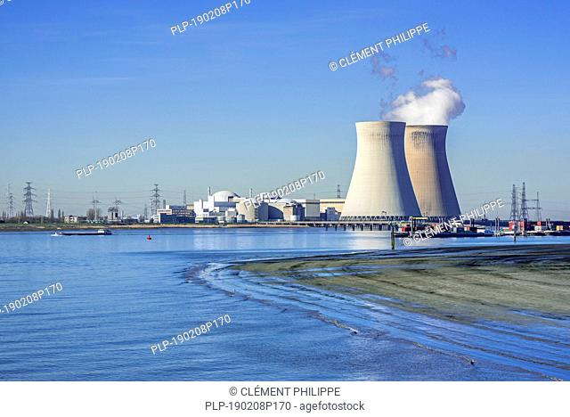 Doel Nuclear Power Station / nuclear power plant in the Antwerp harbour along the river Scheldt / Schelde, Flanders, Belgium