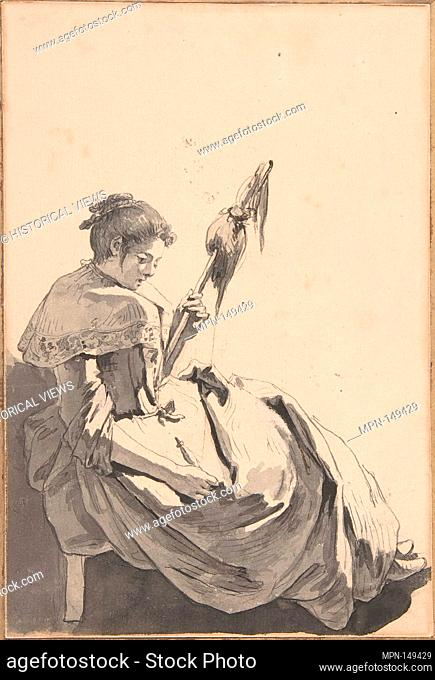 Bolognese Peasant Girl with a Distaff. Artist: Jean-Baptiste Greuze (French, Tournus 1725-1805 Paris); Date: 1755; Medium: Pen and black ink
