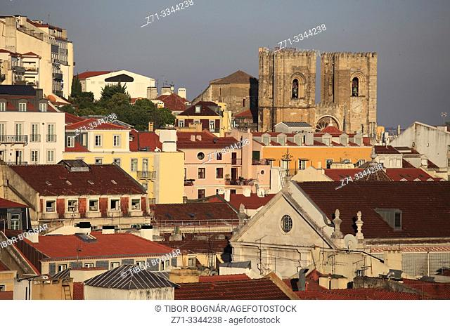 Portugal, Lisbon, skyline, cathedral, aerial view,