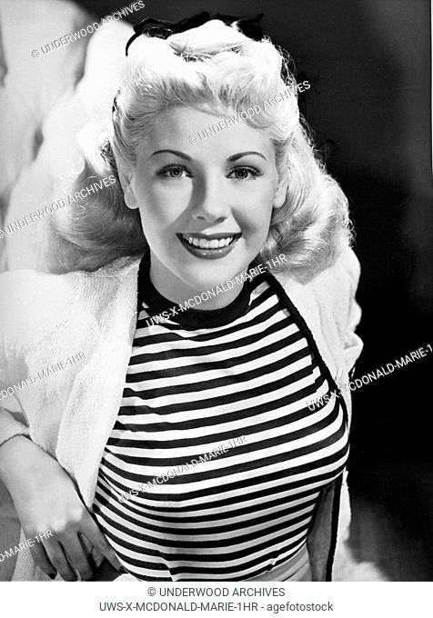 Hollywood, California: September 21, 1945.A portrait of actress Marie The Body McDonald who is the star of United Artists' new film, Getting Gertie's Garter