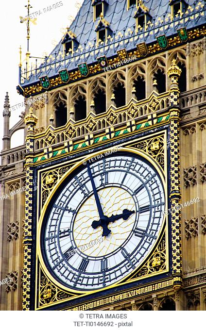 United Kingdom, London, Big Ben clock face