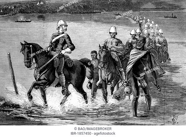 The restoration of Catewayo, the military escort crossing the Tugela River, South Africa, on their way to meet the King, historic image, 1883