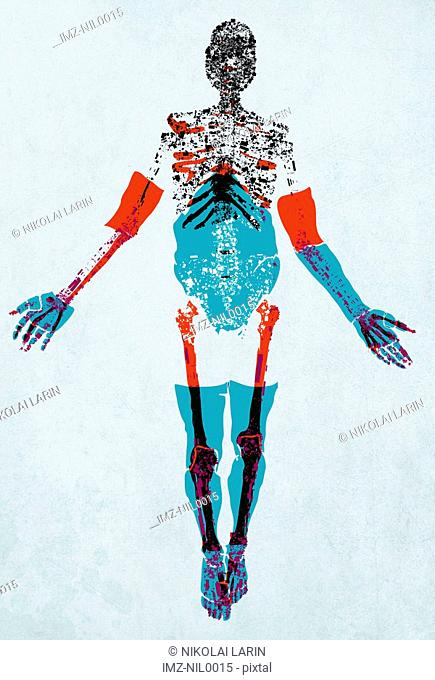 A drawing of a human figure with details of muscle, tendons and bones made up of electric shapes and pattern