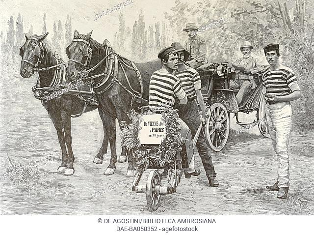 From Vienna to Paris by carriage and by wheelbarrow, illustration from L'Illustration, No 2424, August 10, 1889. DeA / Veneranda Biblioteca Ambrosiana, Milan